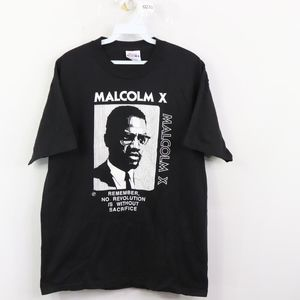 90s Mens Medium Malcom X Revolution T Shirt Black